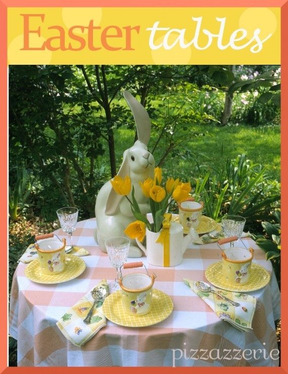Yellow and Peach Orange Easter Table with Bunny Centerpiece