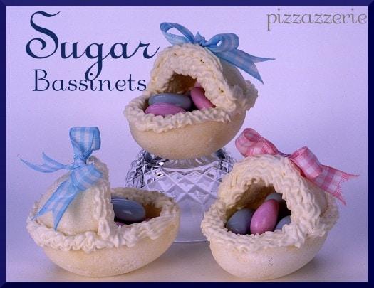 Pressed sugar bassinet for baby shower