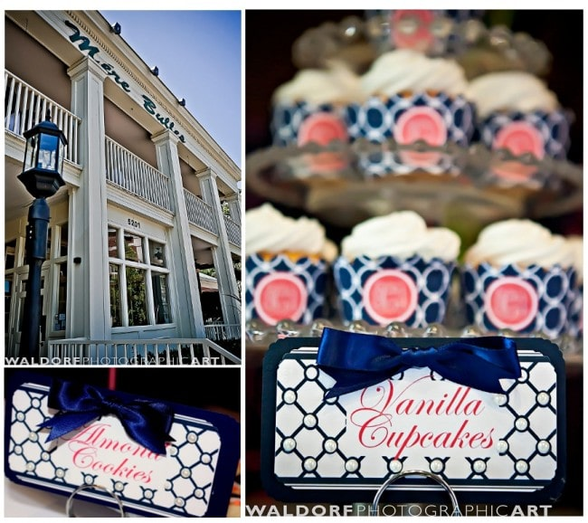 the paper menu cupcake wrappers in navy and coral at mere bulles