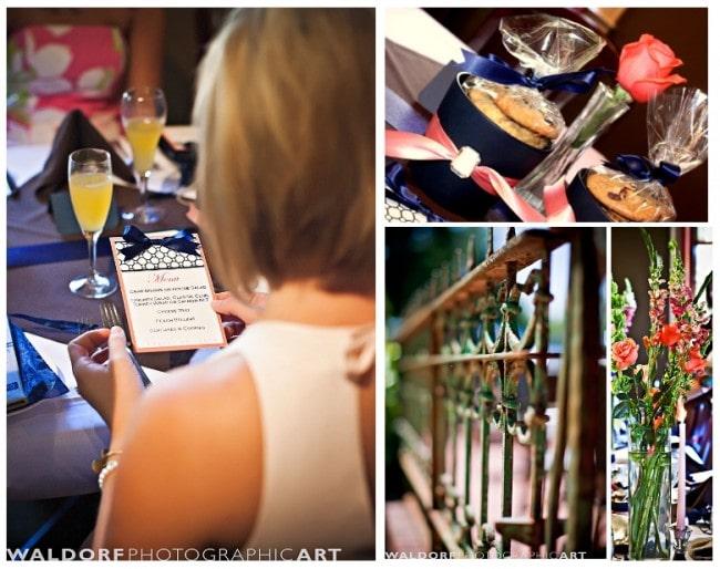 navy coral bridesmaid luncheon