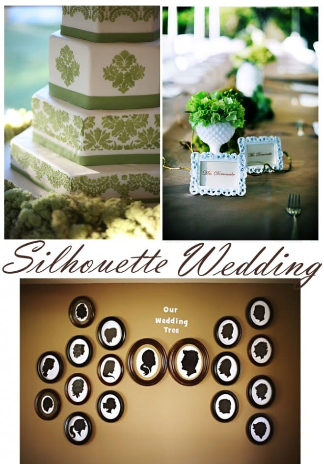 green and white silhouette wedding in texas