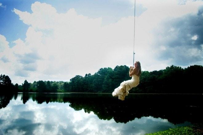 bride jumping