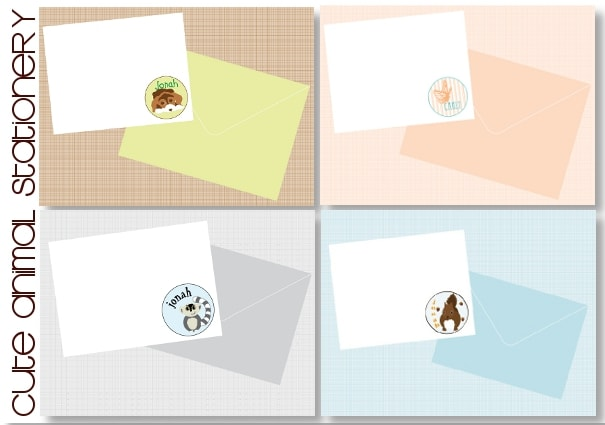 animal notecards for children
