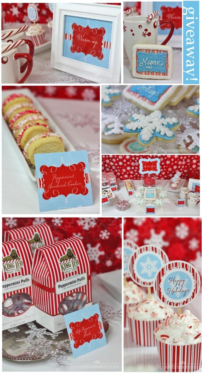 candy cane christmas party tablescape printables