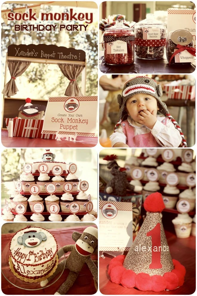 vintage boy's sock monkey birthday party