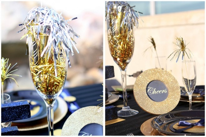 champagne new years party tablescape